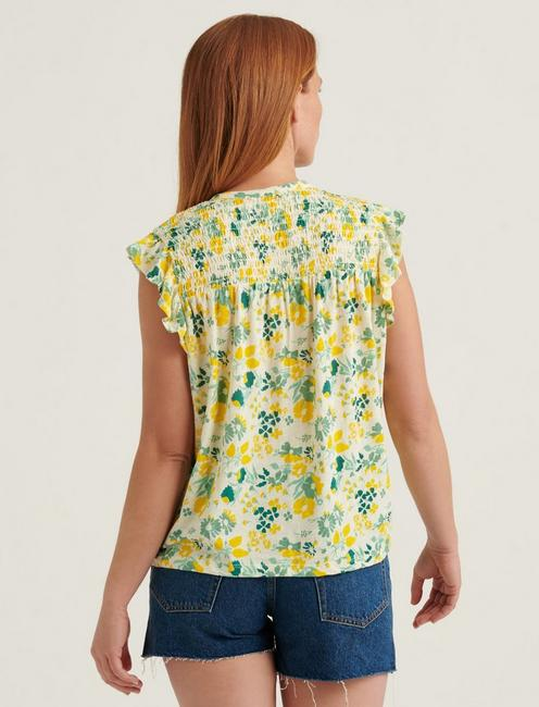 PRINTED SMOCKED SLEEVELESS TOP, YELLOW MULTI
