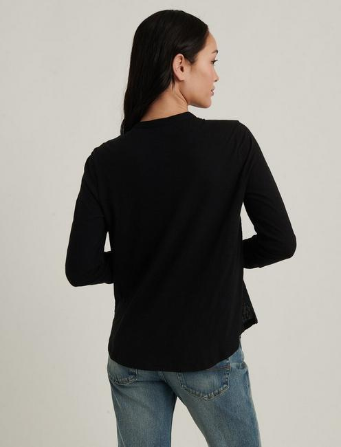 GAUZE MIXED MEDIA TOP, 001 LUCKY BLACK