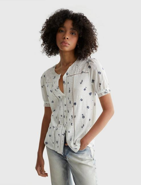 SHORT SLEEVE WOVEN MIX PRINTED TOP, WHITE MULTI