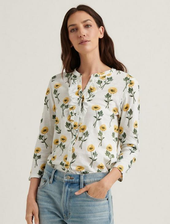 FLORAL RUFFLE HENLEY, YELLOW MULTI, productTileDesktop