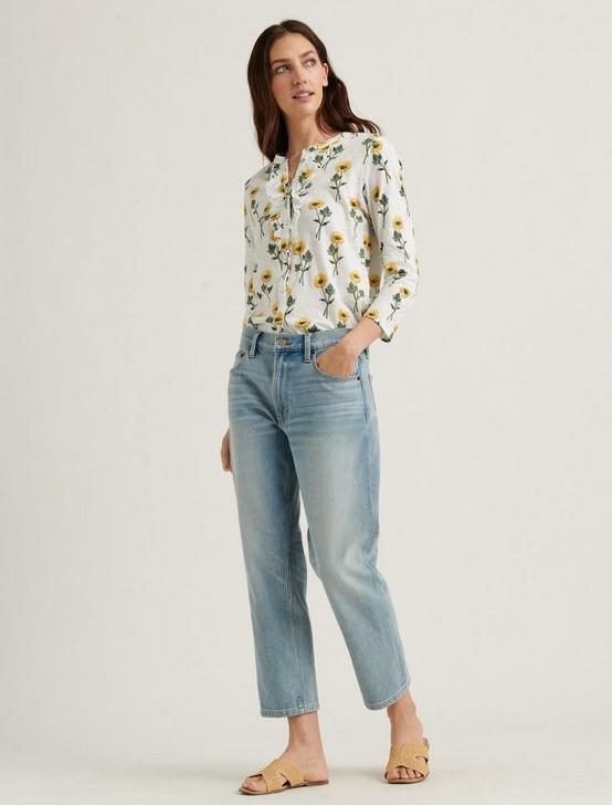FLORAL RUFFLE HENLEY TOP, YELLOW MULTI, productTileDesktop