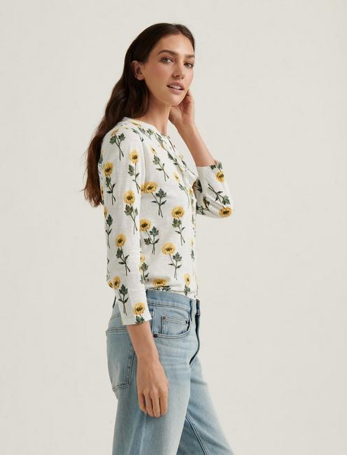 FLORAL RUFFLE HENLEY, YELLOW MULTI