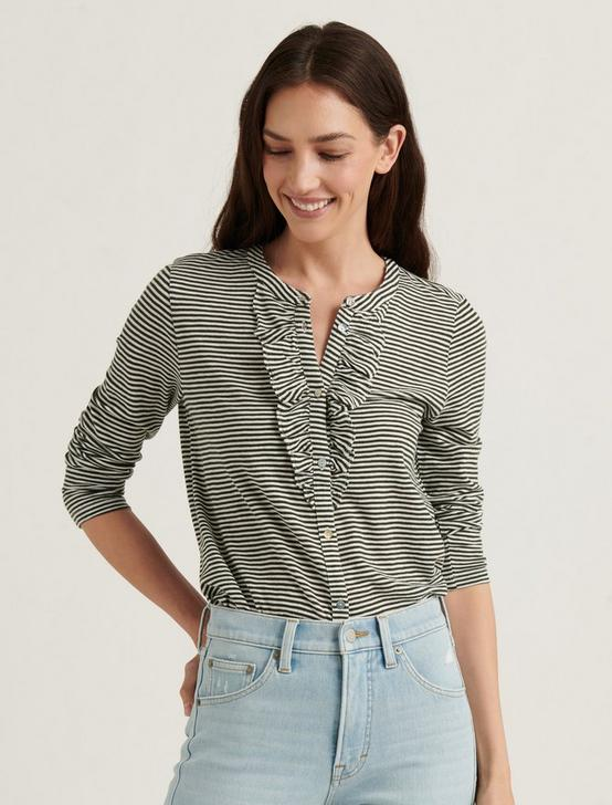 STRIPED RUFFLE HENLEY, OLIVE STRIPE, productTileDesktop