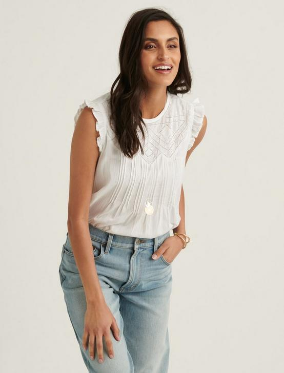 SHIFFLY RUFFLE SHELL TOP, BRIGHT WHITE, productTileDesktop