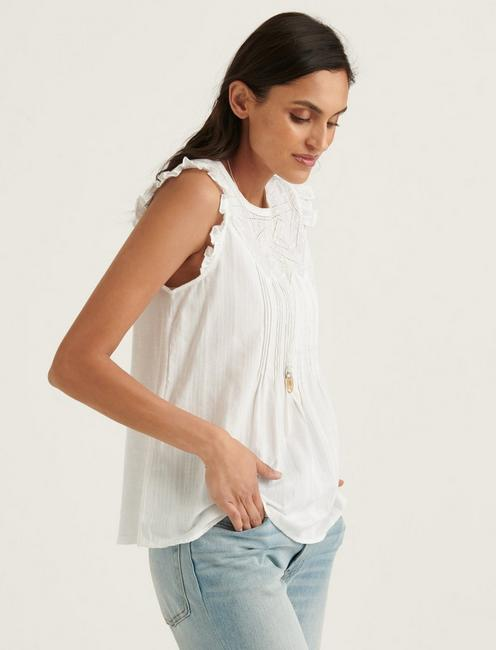 SHIFFLY RUFFLE SHELL TOP, BRIGHT WHITE