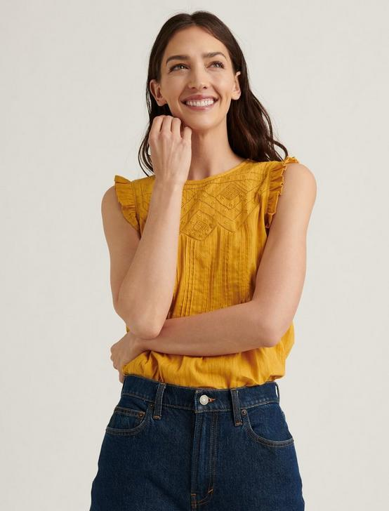 SHIFFLY RUFFLE SHELL TOP, ARROWWOOD, productTileDesktop