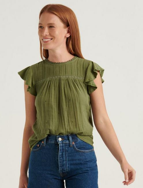EMBROIDERED WOVEN MIX SLEEVELESS TOP,