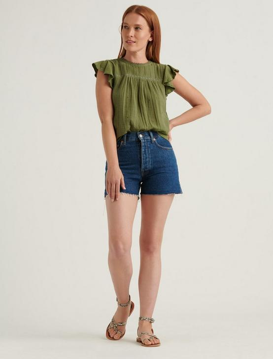 EMBROIDERED WOVEN MIX SLEEVELESS TOP, OLIVINE, productTileDesktop