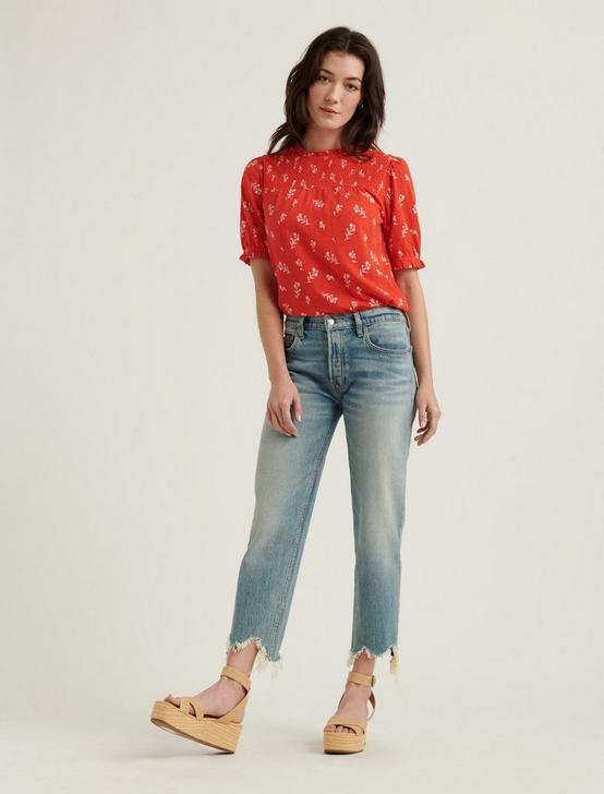 PUFF SLEEVE PRINTED TOP, RED MULTI, productTileDesktop