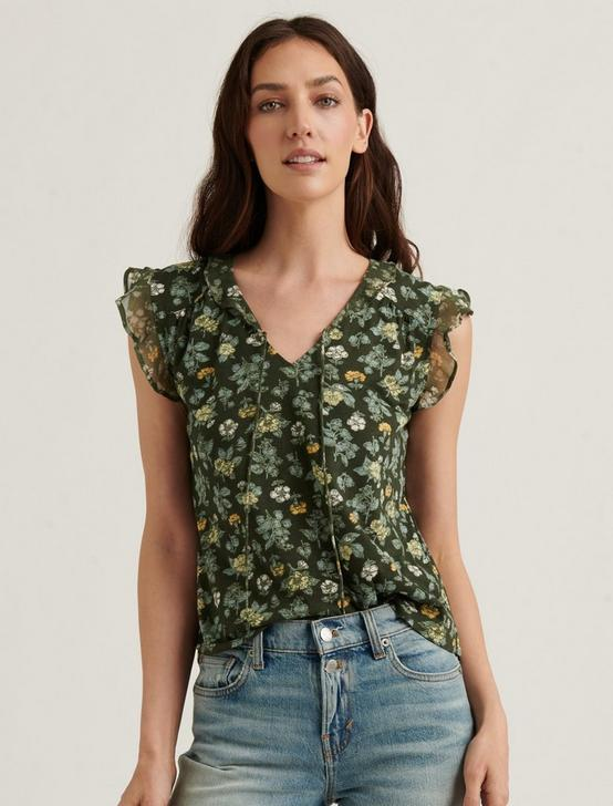 PRINTED RUFFLE TANK, OLIVE MULTI, productTileDesktop