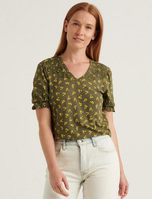 EMBROIDERED PUFF SLEEVE TOP, OLIVE MULTI