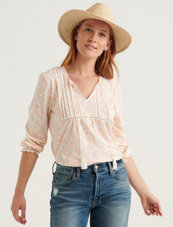PRINTED PEASANT TOP, PEACH MULTI, productTileDesktop