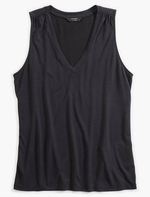 V-NECK SANDWASH TANK, 001 LUCKY BLACK