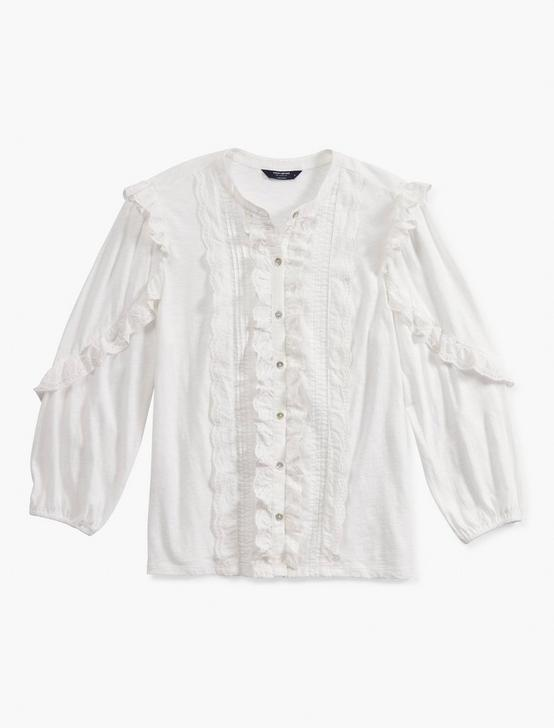 LONG SLEEVE RUFFLE BUTTON DOWN, BRIGHT WHITE, productTileDesktop