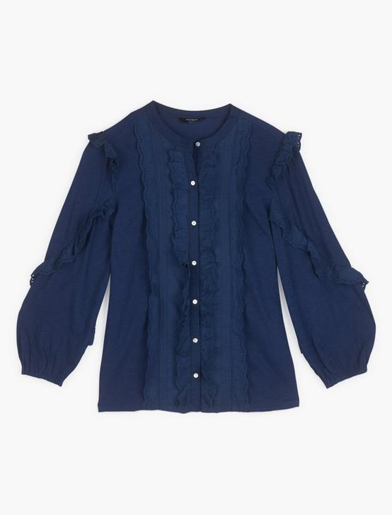 LONG SLEEVE RUFFLE BUTTON DOWN, BLUEPRINT, productTileDesktop