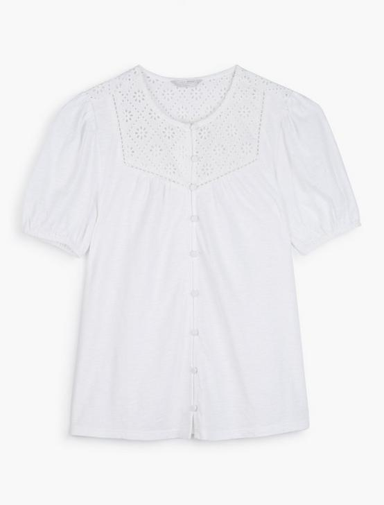 BUTTON DOWN KNIT BLOUSE, BRIGHT WHITE, productTileDesktop