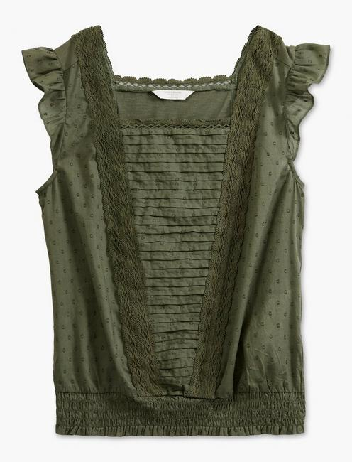 SQUARE NECK MIXED MEDIA BLOUSE, THYME