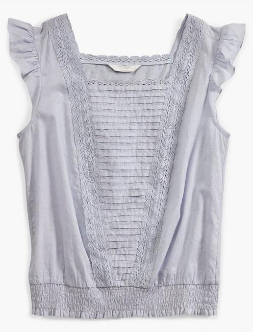 SQUARE NECK MIXED MEDIA BLOUSE, HEATHER