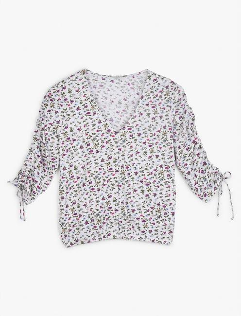 PRINTED RUCHED SLEEVE TOP, WHITE MULTI