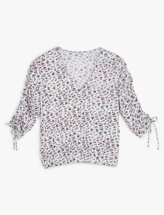 PRINTED RUCHED SLEEVE TOP, WHITE MULTI, productTileDesktop