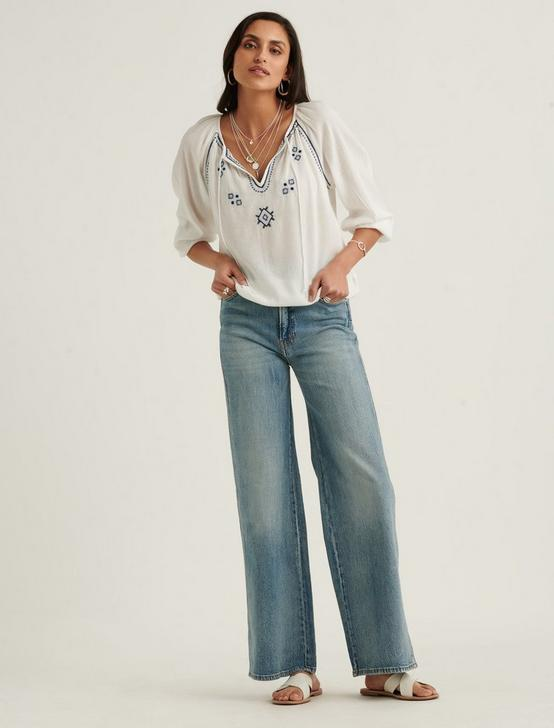 EMBROIDERED PEASANT TOP, BRIGHT WHITE, productTileDesktop