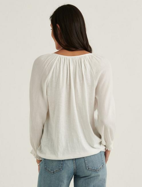 EMBROIDERED PEASANT TOP, BRIGHT WHITE