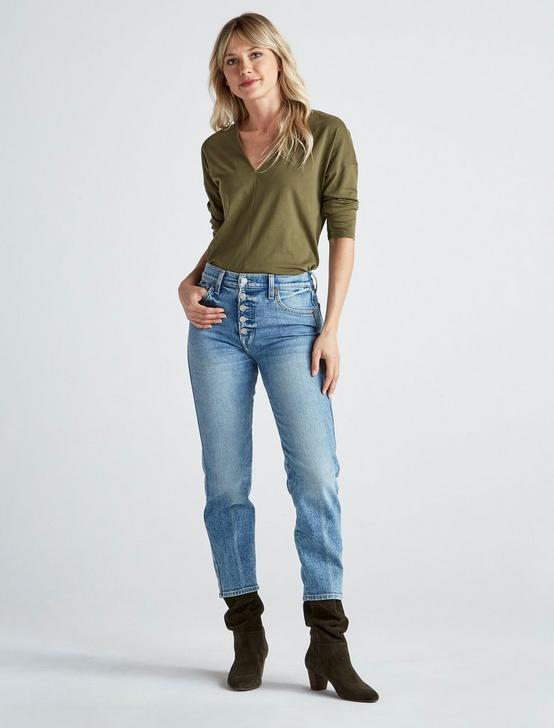 SUPIMA COTTON V NECK TOP, OLIVE, productTileDesktop
