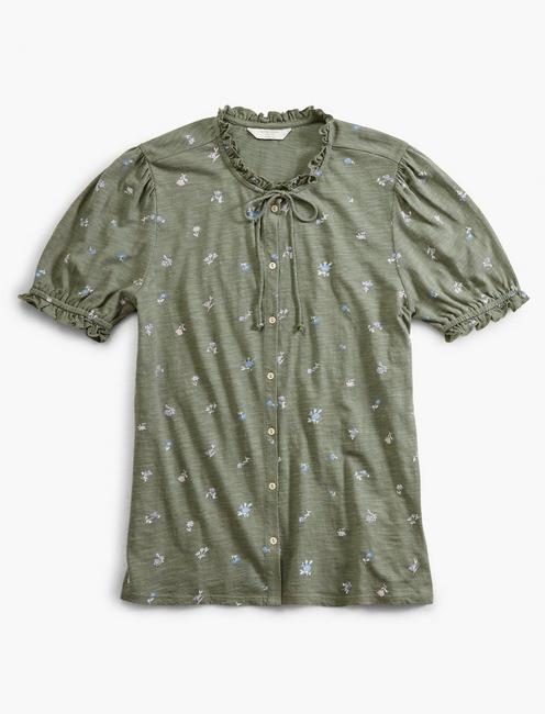 PRINTED SHORT SLEEVE BUTTON DOWN, OLIVE MULTI