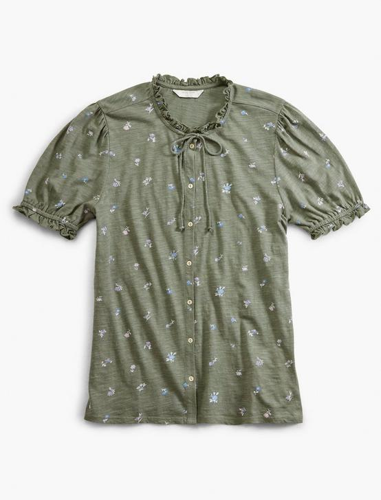 PRINTED SHORT SLEEVE BUTTON DOWN, OLIVE MULTI, productTileDesktop