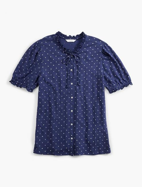 PRINTED SHORT SLEEVE BUTTON DOWN, NAVY MULTI