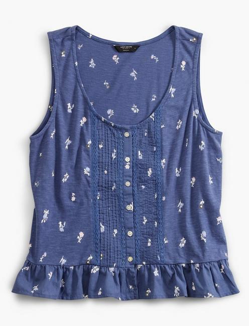 PRINTED PEPLUM TANK, BLUE MULTI