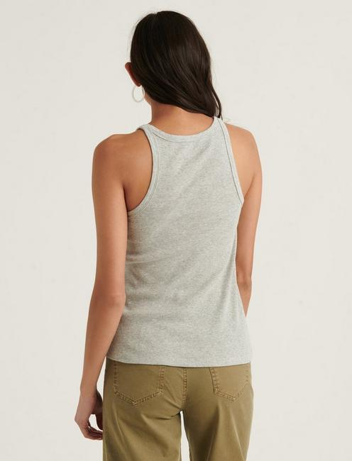 ESSENTIAL RIBBED TANK, HEATHER GREY