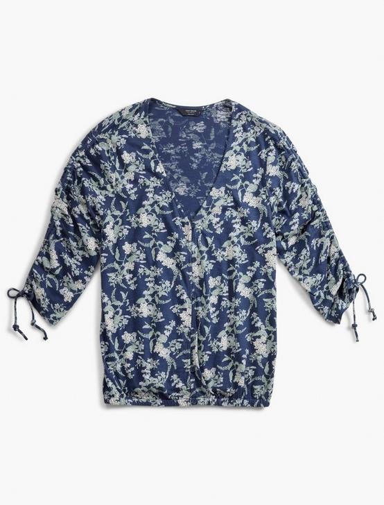 PRINTED RUCHED SLEEVE TOP, BLUE MULTI, productTileDesktop