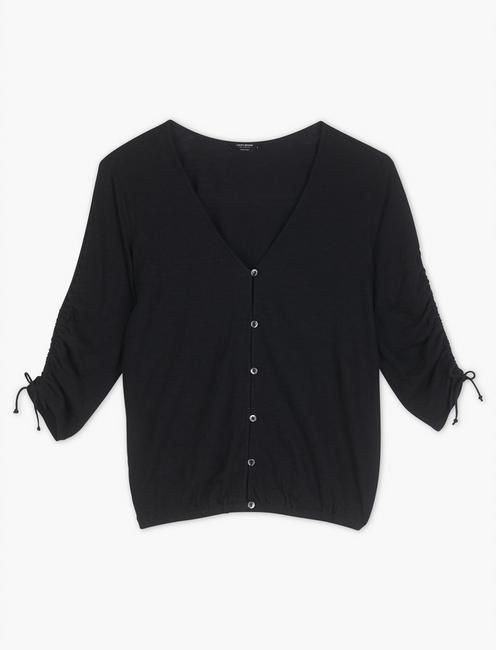 RUCHED SLEEVE TOP,