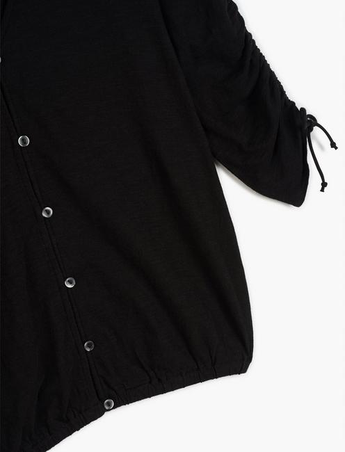 RUCHED SLEEVE TOP, 001 LUCKY BLACK