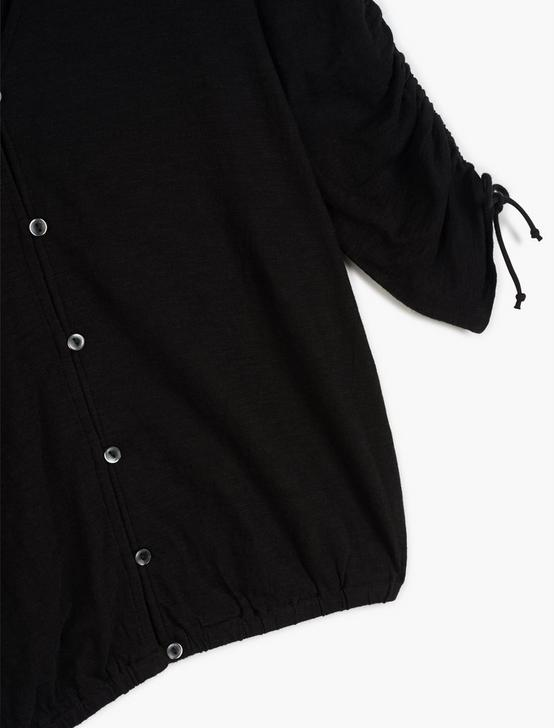 RUCHED SLEEVE TOP, 001 LUCKY BLACK, productTileDesktop