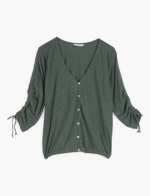 RUCHED SLEEVE TOP, THYME