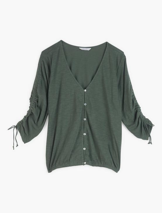 RUCHED SLEEVE TOP, THYME, productTileDesktop
