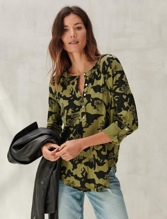 PRINTED POINTELLE HENLEY, GREEN MULTI, productTileDesktop