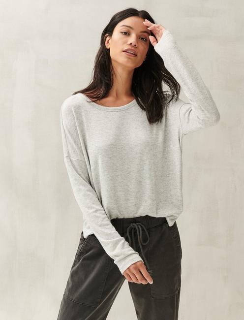 DROP SHOULDER CLOUD JERSEY TOP, HEATHER GREY