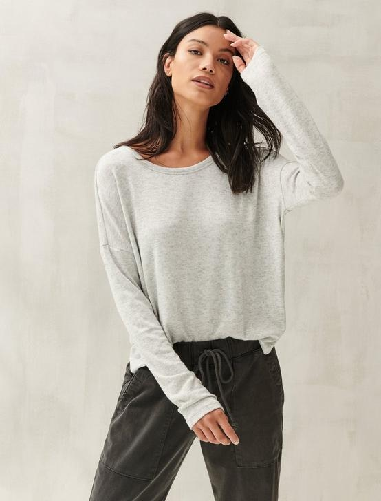 DROP SHOULDER CLOUD JERSEY TOP, HEATHER GREY, productTileDesktop