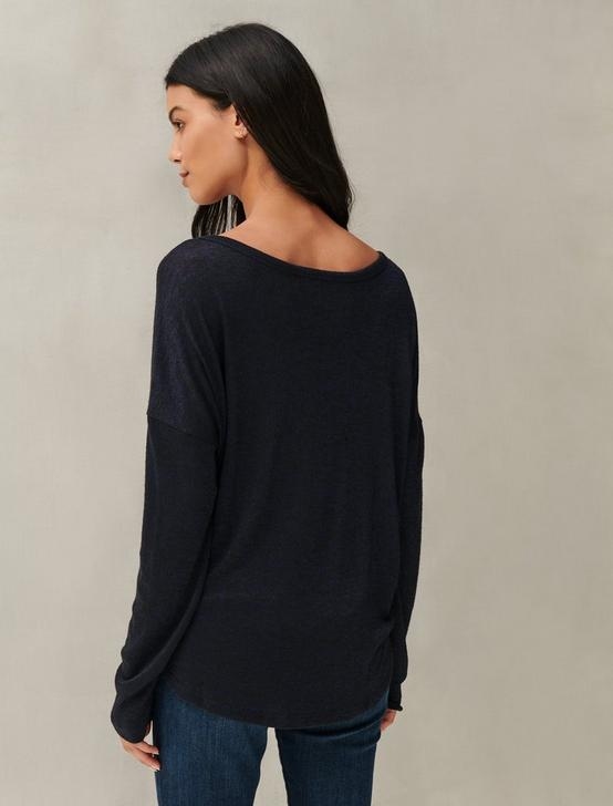 DROP SHOULDER CLOUD JERSEY TOP, NAVY, productTileDesktop