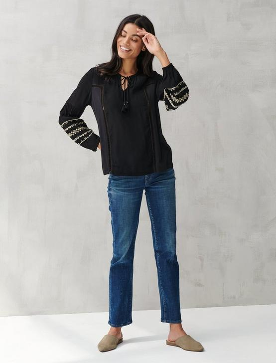 LUREX EMBROIDERED PEASANT TOP, 001 LUCKY BLACK, productTileDesktop