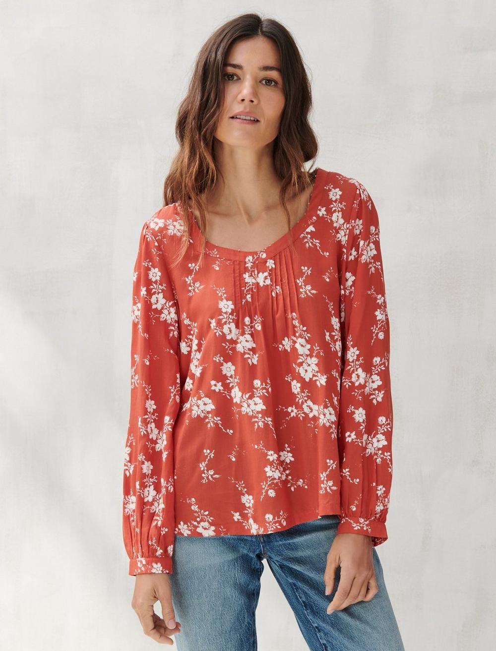 PRINTED SQUARE NECK TOP, image 1