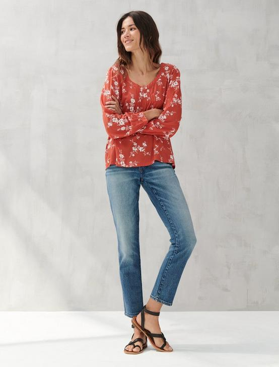 PRINTED SQUARE NECK TOP, RED MULTI, productTileDesktop