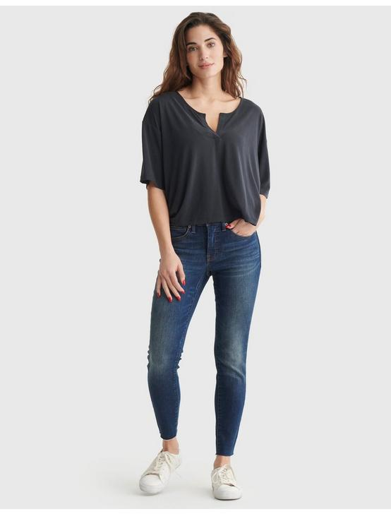 RELAXED-FIT V-NECK KNIT TOP, BLACK ONYX, productTileDesktop
