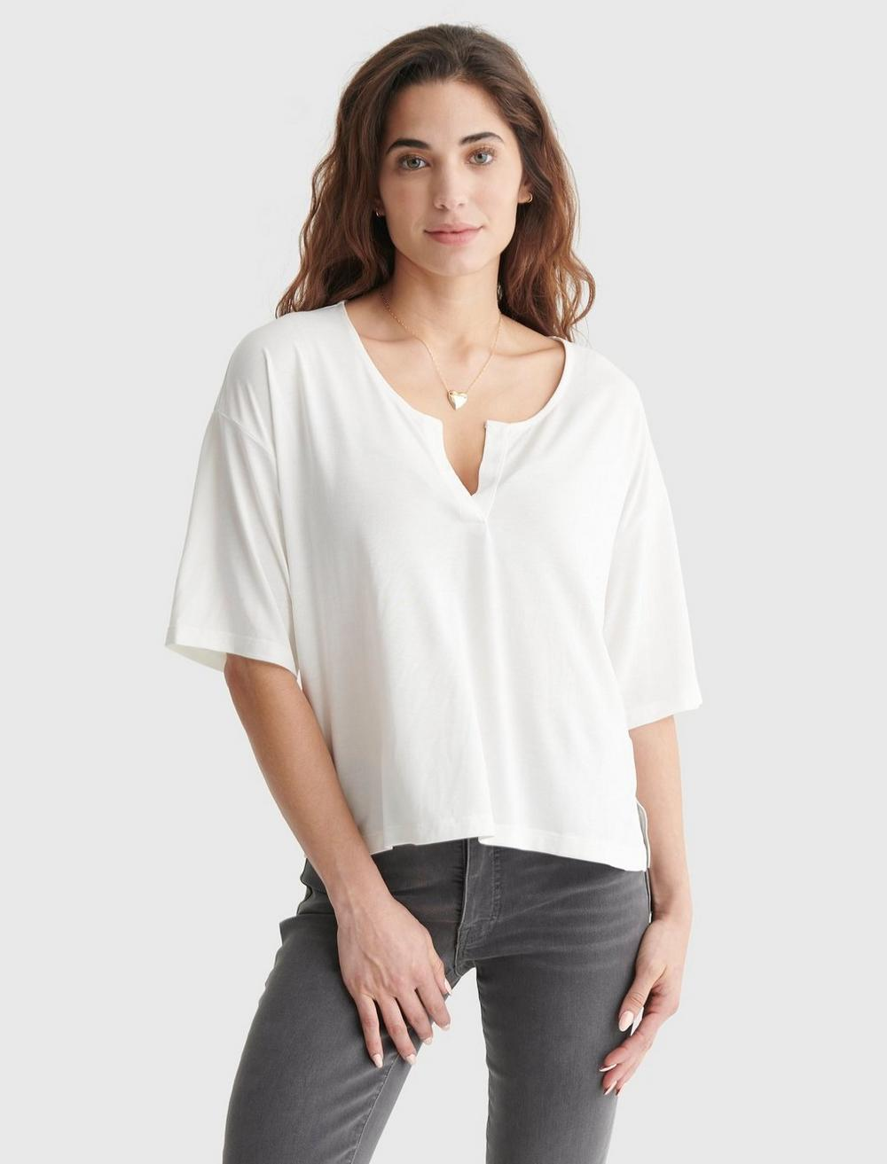 RELAXED-FIT V-NECK KNIT TOP, image 1