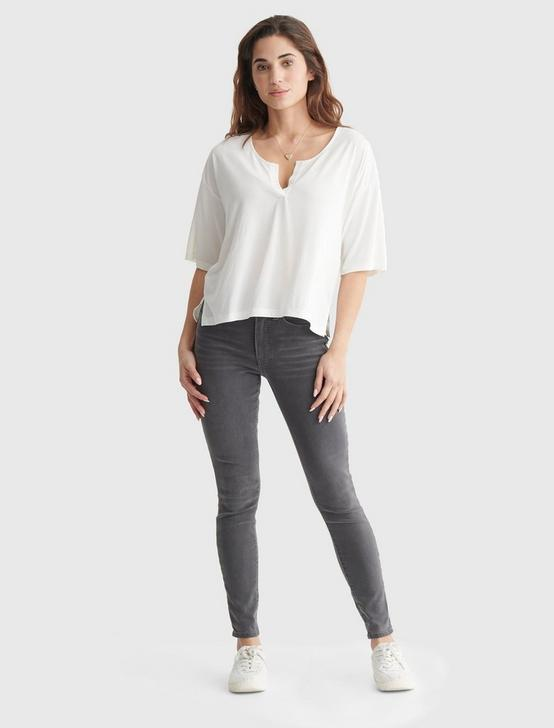 RELAXED-FIT V-NECK KNIT TOP, MARSHMALLOW, productTileDesktop