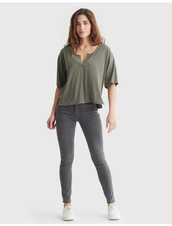 RELAXED-FIT V-NECK KNIT TOP, DEEP LICHEN GREEN, productTileDesktop