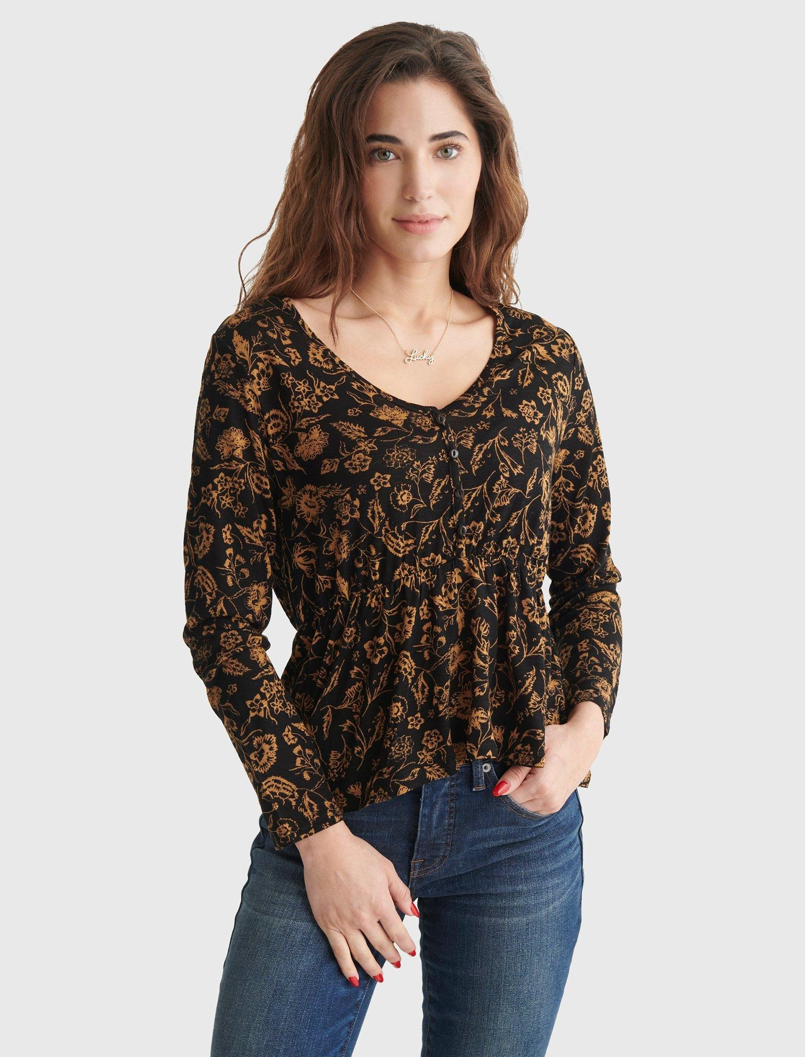 RELAXED-FIT PEPLUM V-NECK TOP, image 1